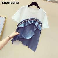 New Korean Style Summer Tshirt Women Fashion Lotus Leaf Hem Stitching Short sleeved T shirt Loose Casual Tops Student Tees T