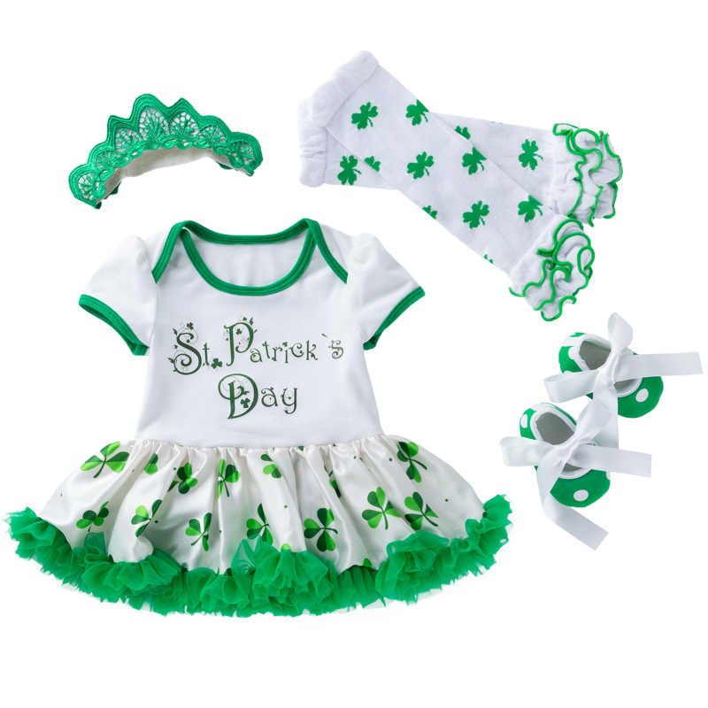 275808b6a St Patricks Day Baby Girl Clothes 4pcs Set Green Print Rompers +headhand  Shoes Set 3