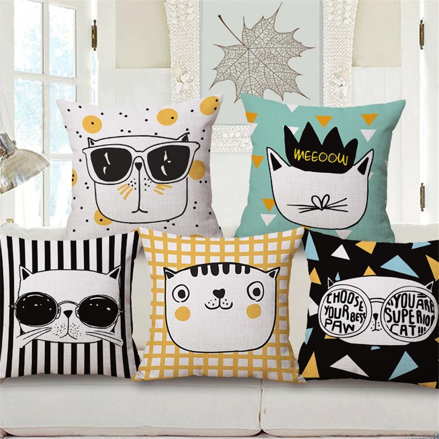 Colorful Cartoon Cat Cushion Cover Animal Decorative Sofa Throw Pillow Case Nordic Modern Plain Home Decor Square 45x45cm E1372 Cushion Cover Cat Cushion Coversofa Throw Pillows Aliexpress