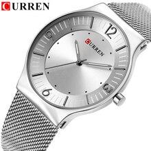 カレン新しい到着シンプルなスタイルのファッション&カジュアルビジネス男性腕時計フルスチール石英男性の腕時計レロジオmasculino relojes