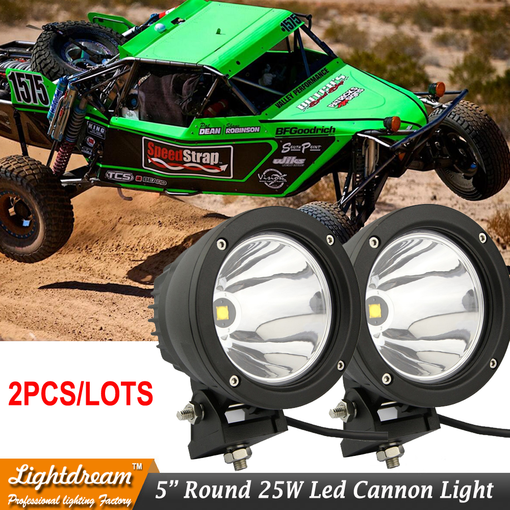 Offroad 4.5 LED Light Cannon PAIR 25 Watt 10 Degree Spot Beam LED Work Driving light 12V 24V External lights x2pcs free ship 1pcs 120w 12 12v 24v led light bar spot flood combo beam led work light offroad led driving lamp for suv atv utv wagon 4wd 4x4