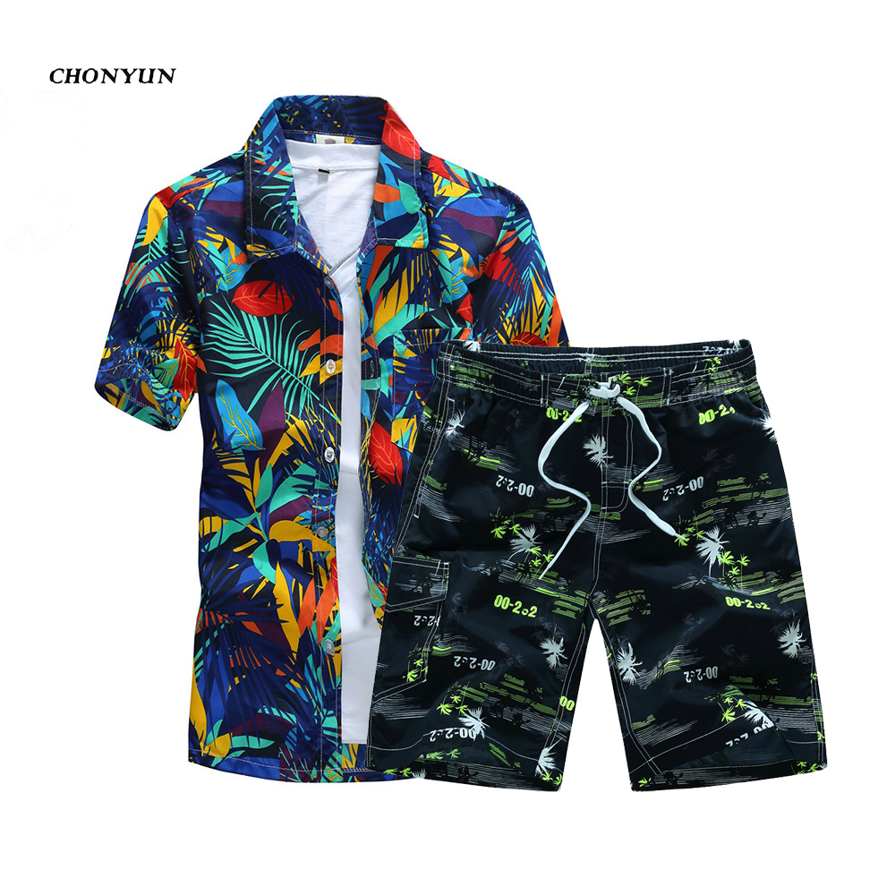 Летние мужские повседневные пляжные костюмы, шорты с коротким рукавом, 2 шт., тренировочный костюм + штаны, Быстросохнущий Спортивный костюм,...