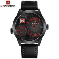 NAVIFORCE מותג בסין למעלה גברים ספורט שעונים כפול זמן קוורץ שעונים רצועת עור שעון לוח עמיד למים 30 M Relogio Masculino