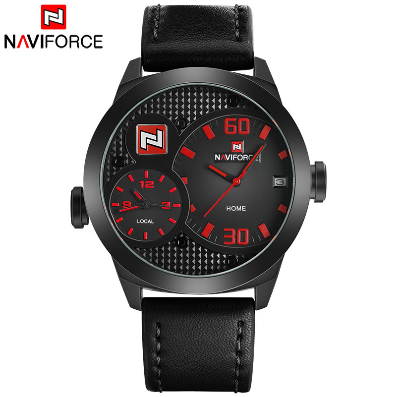 NAVIFORCE Top China Brand Men Sport Watch Dual Time Quartz Watches Leather Band 30M Waterproof Calendar Clock Relogio Masculino портативная колонка jbl playlist 150 black