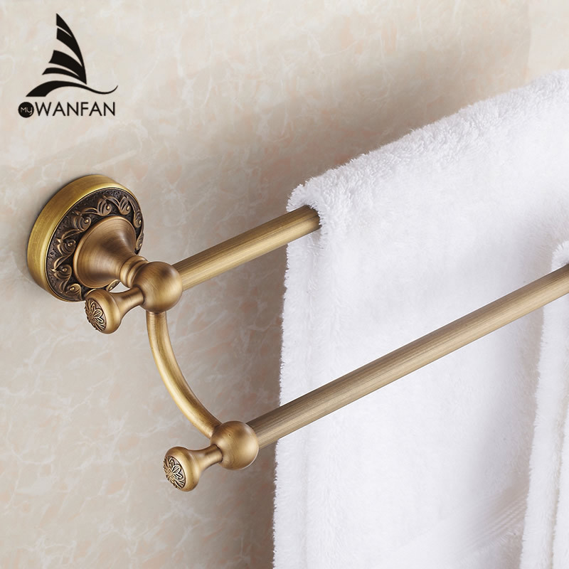 Towel Bars 60cm Double Rails Antique Brass Wall Shelves Towel Holder Bath Shelf Hanger Bathroom Accessories Towel Rack 3711F xogolo antique solid brass wall mounted bath towel rack wholesale and retail towel shelf double layer towel hanger accessories