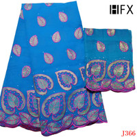HFX High Quality African Cotton Lace Leaves Embroidered Nigeria Fabric Sky Blue Voile Lace Fabric with Blouse L366