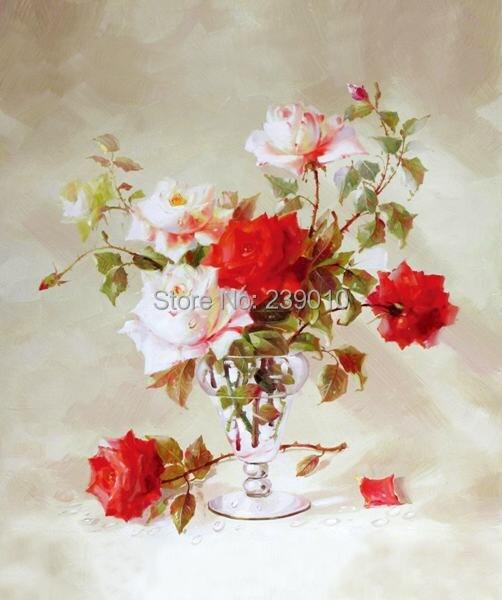 acheter livraison gratuite r aliste fleurs peinture l 39 huile toile nature morte. Black Bedroom Furniture Sets. Home Design Ideas