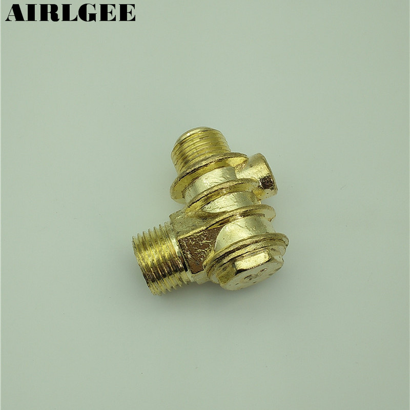 0.35 Female Thread Tube Connector Air Compressor Check Valve Brass Tone vertical type 1 2 pt female threaded brass tone in line check valve