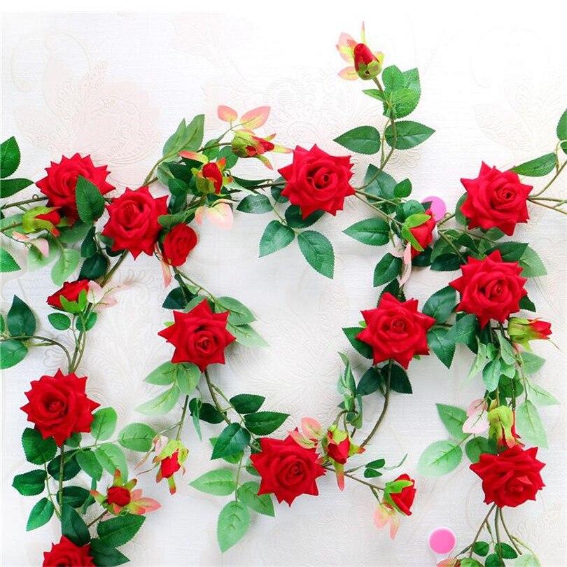 10pcs Red Rose Flower Vine Silk Flower Vines 175cm Rose String for Home Wall Hanging Decorative Flowers
