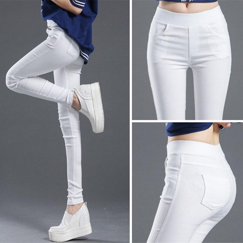 WKOUD 2019 Sexy Sólidos Calças Lápis Leggings de Comprimento Total das Mulheres de Cintura Alta Estiramento Calças Casual Wear Feminino Preto Branco p8823