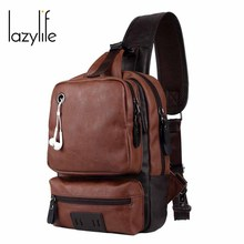 LAZYLIFE Fashion Man Shoulder Bag Men PU Messenger Bags Casual Travel