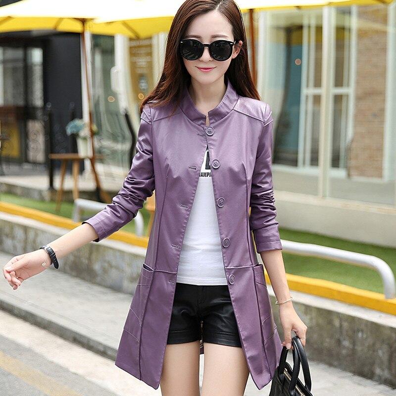 Slim Fashion Faux purple Yjz182 2018 Long Kmetram New Hiver yellow Femmes Black Pu Veste Tranchée Style En Coréenne Manteau Vestes Automne Cuir R6x7xgBqOw