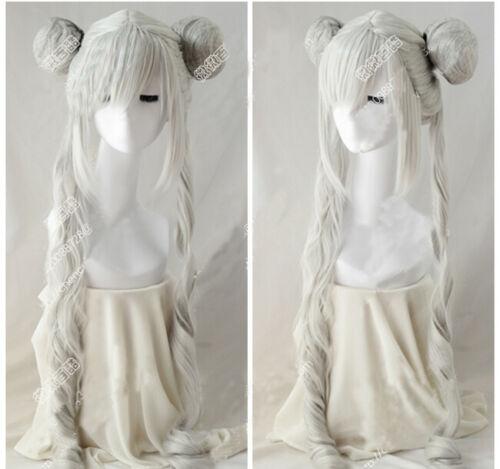 Sailor Moon Tsukino Usagi Long Ponytails Silver White Cosplay Wig Party Wig HairSailor Moon Tsukino Usagi Long Ponytails Silver White Cosplay Wig Party Wig Hair