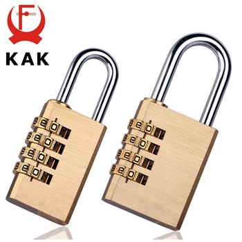 KAK mosiężna miedź kłódka zabezpieczająca hasło kombinacja zamek szyfrowy do siłowni cyfrowa szafka walizka zamek do szuflady sprzęt tanie i dobre opinie Padlock-01 Kłódki Keyed Different Sizes to choose Copper and 304 Stainless Steel High quality solid password lock combination padlock