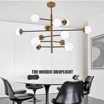 Nordic Glass Ball Led Loft LED Designer ห้องนั่งเล่นห้องรับประทานอาหารโรงแรม Hall Led แขวนโคมไฟจัดส่งฟรี