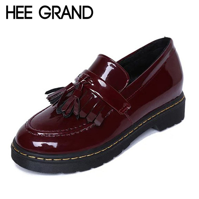 HEE GRAND Patent Leather Oxfords Shoes Spring Vintage Tassel Platform Brogue Shoes Woman British Style Slip On Flats DWD2594