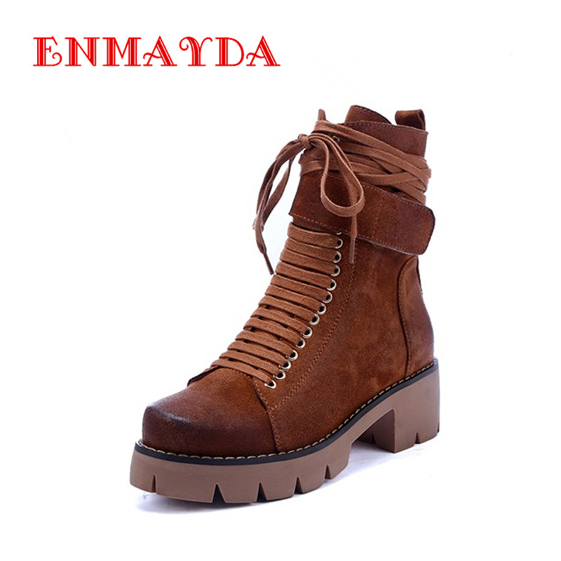 ФОТО ENMAYER Black Motorcycle Boots Shoes Woman Square Heels Round Toe Lace-up Spring and Autumn High Quality Ankle Boots for Women