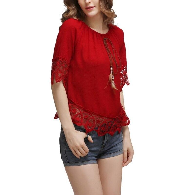 Summer Beach BoHo Vintage Women Elegance Slash Neck Off Shoulder Fashion Short Sleeve Soft Chiffon Lace Blouse Tops
