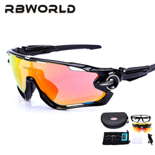 JBR Jaw 4 Pair Lens Polarized Men MTB Cycling Sunglasses Eyewear Running Sport Bicycle Glasses TR90 Fishing Goggles