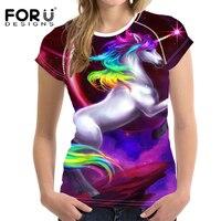 FORUDESIGNS Gökkuşağı At T-shirt Harajuku Galaxy Unicorn t gömlek Tops Kadınlar için Kızlar Tee Gömlek Kadın Bayanlar Slim Fit T gömlek