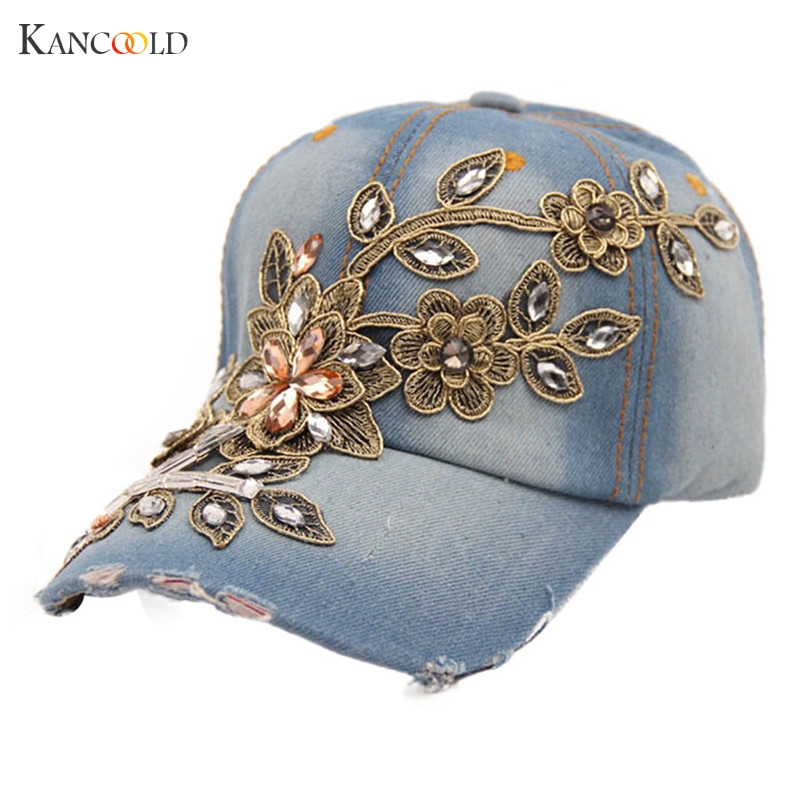 Frank New Hat Women Diamond Flower Demin Baseball Cap Summer Style Lady Jeans Hats Femme Se5gby Women's Hats