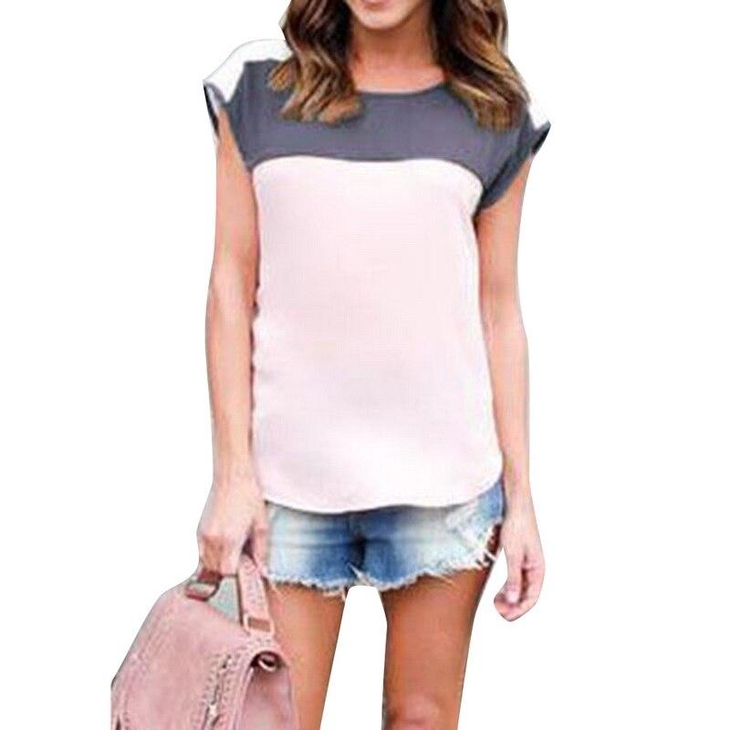 CALOFE Chiffon Blusas 2018 Casual Summer Blouse Shirts Tops Femme Women Patchwork Shirt Casual Street Female Camiseta Blouse