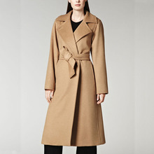 Classic Turn-down Collar Ultra Long Women Woolen Jacket, Ladies Elegant Extra Long Wool Jacket