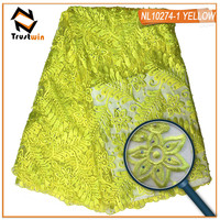 Trustwin the stones lace fabrics of NL10274pi6 3D flower fabrics for wedding dress african print fabric fabric for dress