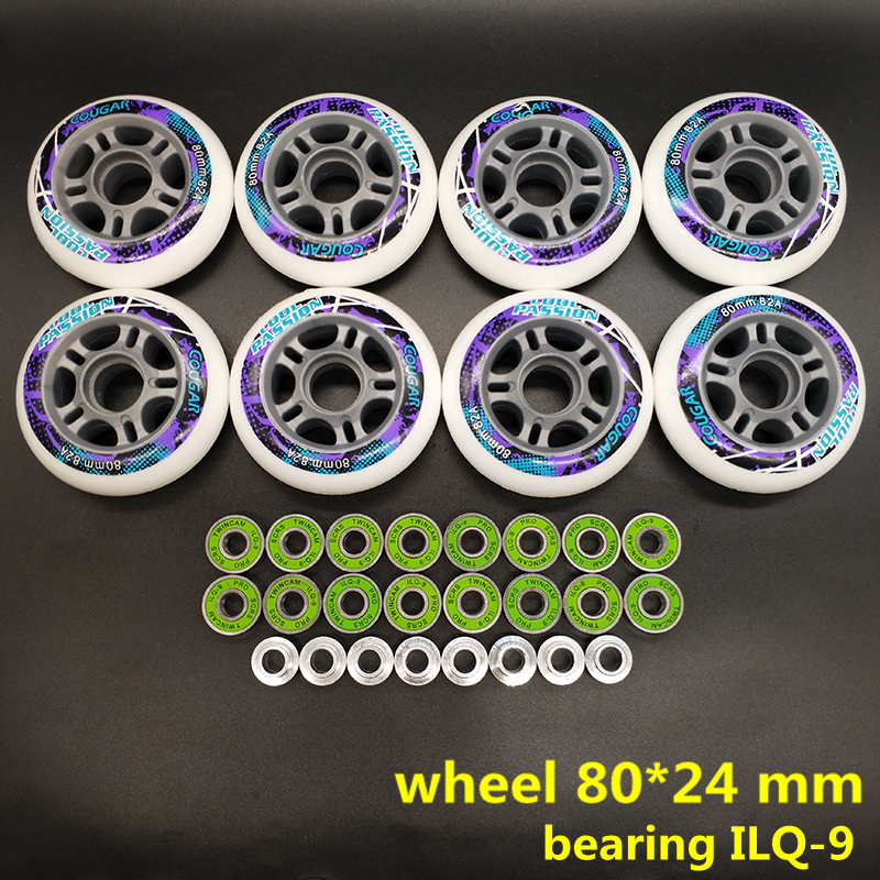 Free Shipping Skate Wheel Roller Wheel 82 A Bearing Ilq-9 8 Pcs / Lot