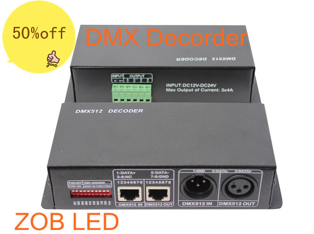 DMX 512 Decoder DMX512 Led RGB Controller,DC12-24V 4A 4 Channels for RGB Ceiling Lamp,Led Strip light,Retail,Wholesale