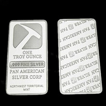 2pcs/lot.  The Pan American corp hammer brass core silver plated souvenir bar coin