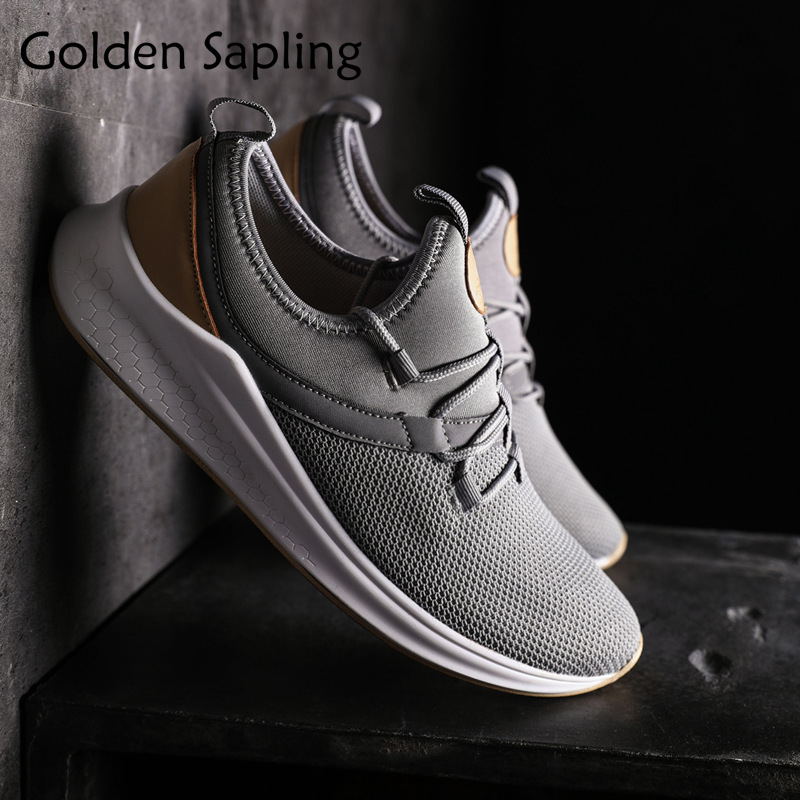 Golden Sapling New Man Sneakers Running Shoes for Men 2018 Cushion Rubber Platform Sneakers Men Lace-up Fabric Mens Sport Shoes