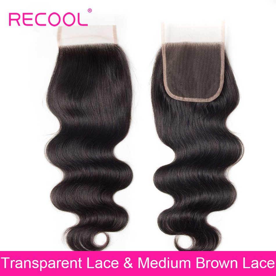 Recool brasileño cuerpo onda HD transparente encaje cierre 4x4 pulgadas libre/Medio/tres Partes encaje suizo cabello humano Remy cierre superior