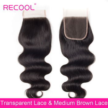 Recool brazylijski ciało fala HD przezroczysty koronki zamknięcie 4x4 cal wolny/Middle/trzy część szwajcarska koronka top zamknięcie Remy ludzki włos