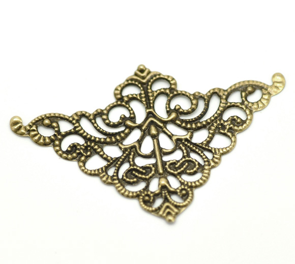 Doreen Box Lovely Antique Bronze Filigree Triangle Wraps Connectors 5cm X 3.2cm(2