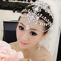 Luxury rhinestone waterdrops head chain big forehead tiara headband  brides tiara wedding hair accessories