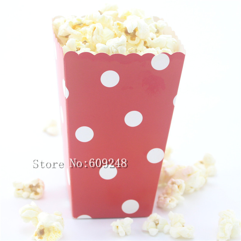 24pcs white polka dot red paper popcorn boxesparty favor boxescandy buffet gift