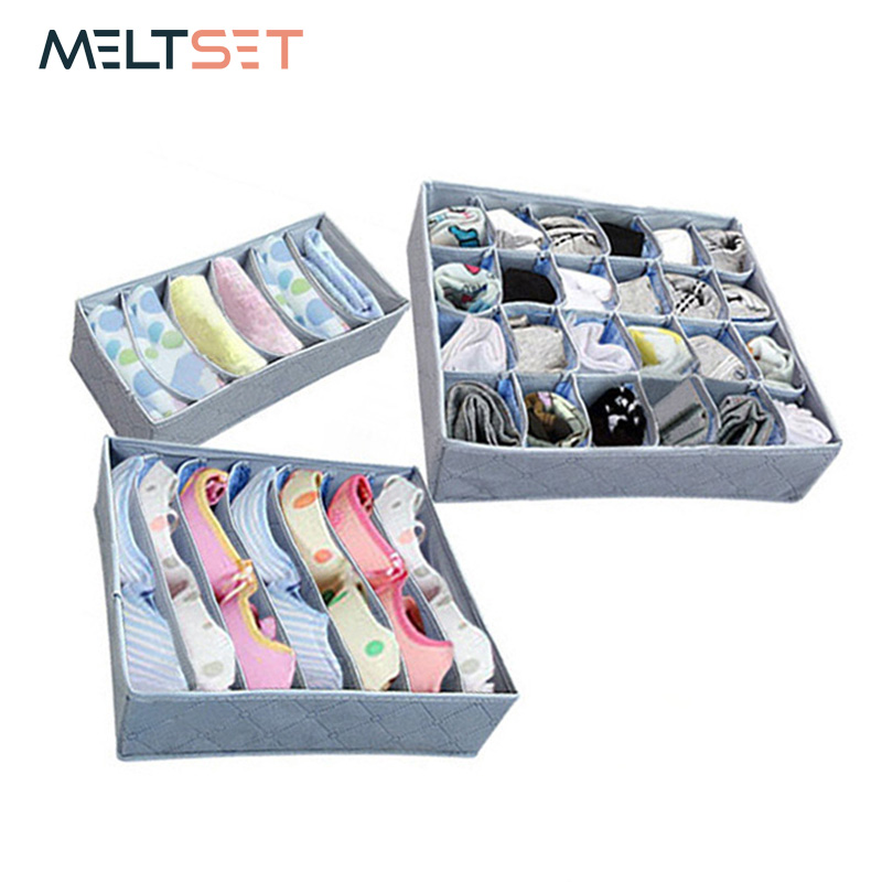 3PCS/SET Multi-size Bra Underwear Organizer Foldable Home Storage Box Non-woven Wardrobe Drawer Closet Organizer For Scarfs Sock