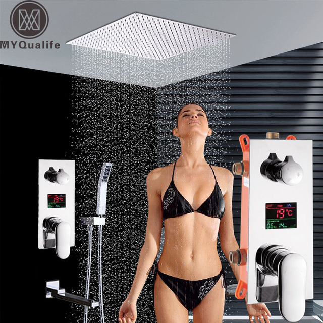 """Ceiling Mounted Big Rainfall 16"""" Shower Faucet Set Single Lever Temperature Digital Display Concealed Shower Mixing Valve Tap"""