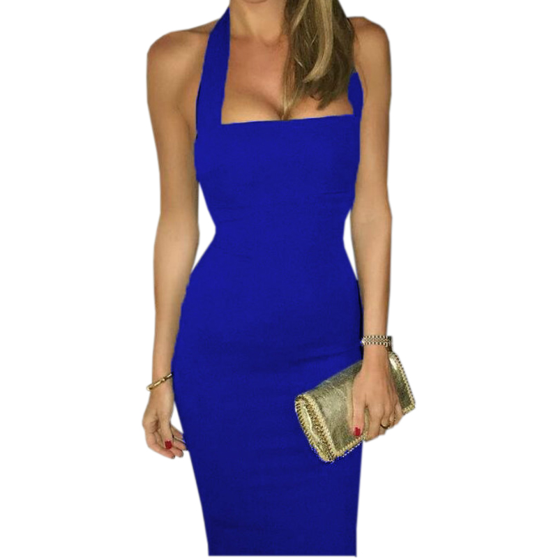 Buy Bandage Dress Halter Strapless Summer Women Sexy Party Dresses Bodycon Sleeveless Knee-Length Club Dress  Femme GV649
