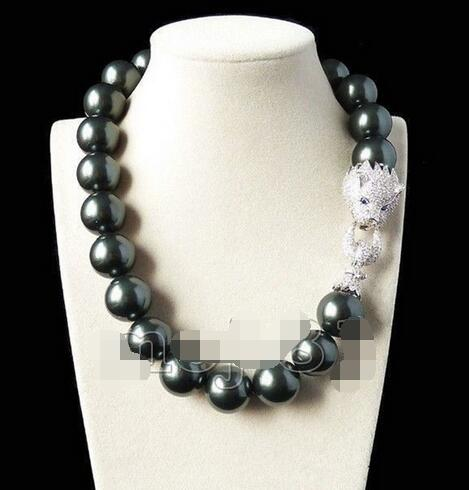 Huge 20mm Genuine South Sea Black Shell imitation Pearl Round Beads Fashion Necklace 18 ''>>> free shipping polyresin round beads necklace 46 49cm 5 pack