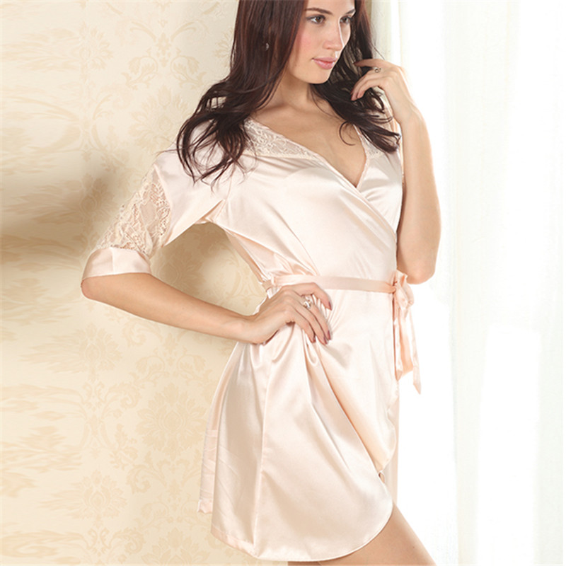 WJ Women Sexy Luxury Soft Lace Deep V Sleepwear Robes Nightdress Faux Silk Sexy Female Nightgown X3