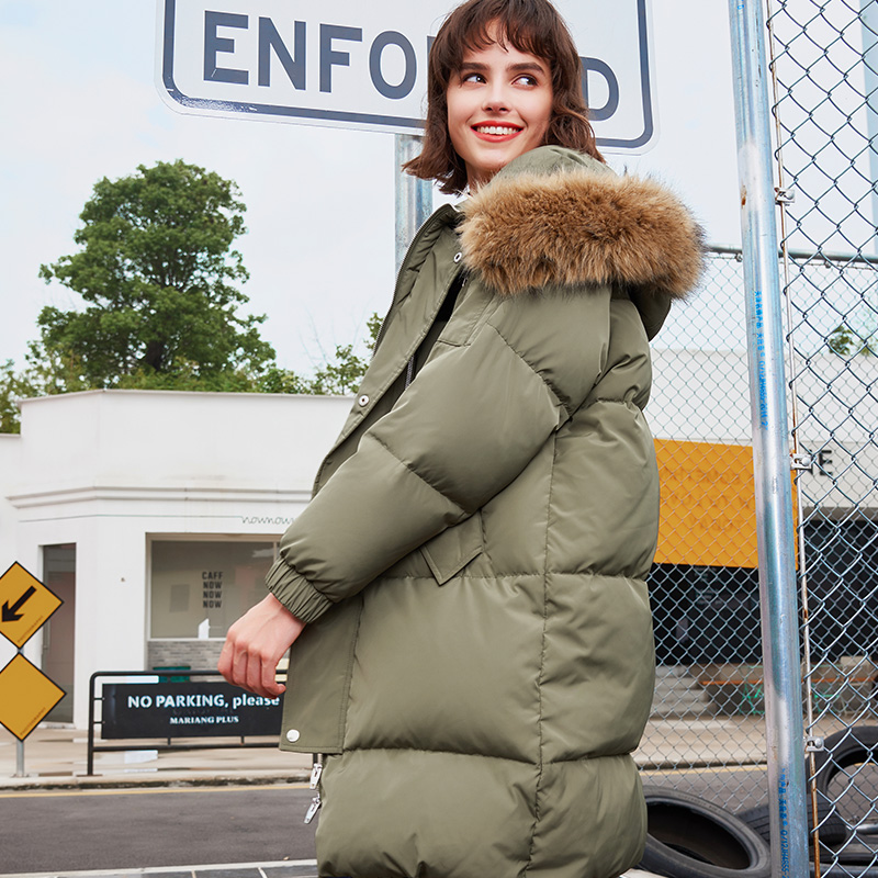 Thickening Winter Duck   Down   Jacket Women Large Fur Collar Hooded Parka Long Outerwear 2019 Fashion Olive Green Womens   Down     Coats