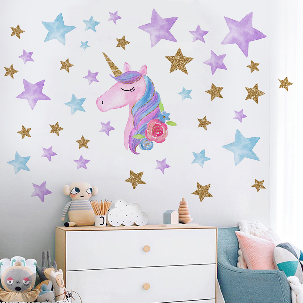 US $1.49 |Fantasy Unicorn Stars Rainbow Wall Sticker Girls Bedroom Wall  Decal Art Decal DIY Nursery Home Decor-in Wall Stickers from Home & Garden  on ...