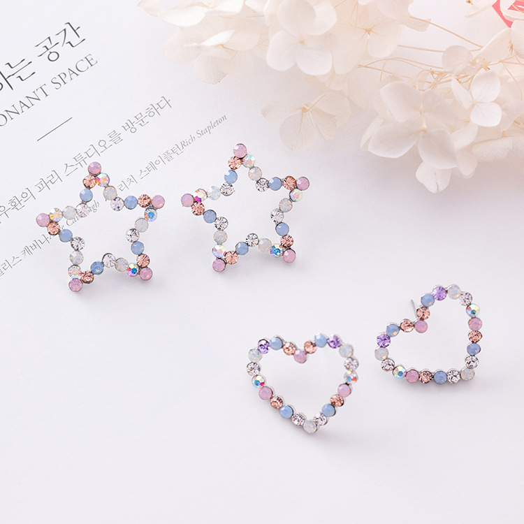 New Korean Hollow Multicolor Rhinestone Star Love Heart Stud Earrings for Women  Cute Fashion Girl Ear Jewelry Brinco Gift 020-in Stud Earrings from Jewelry  ... d2f6a57b54a9