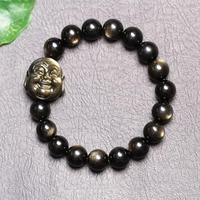 natural gold obsidian Buddha head bracelet stone