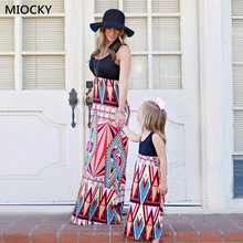 Mother and daughter dresses 2019 Family matching clothes Boho Vintage Grometric Printed Long Dress E057