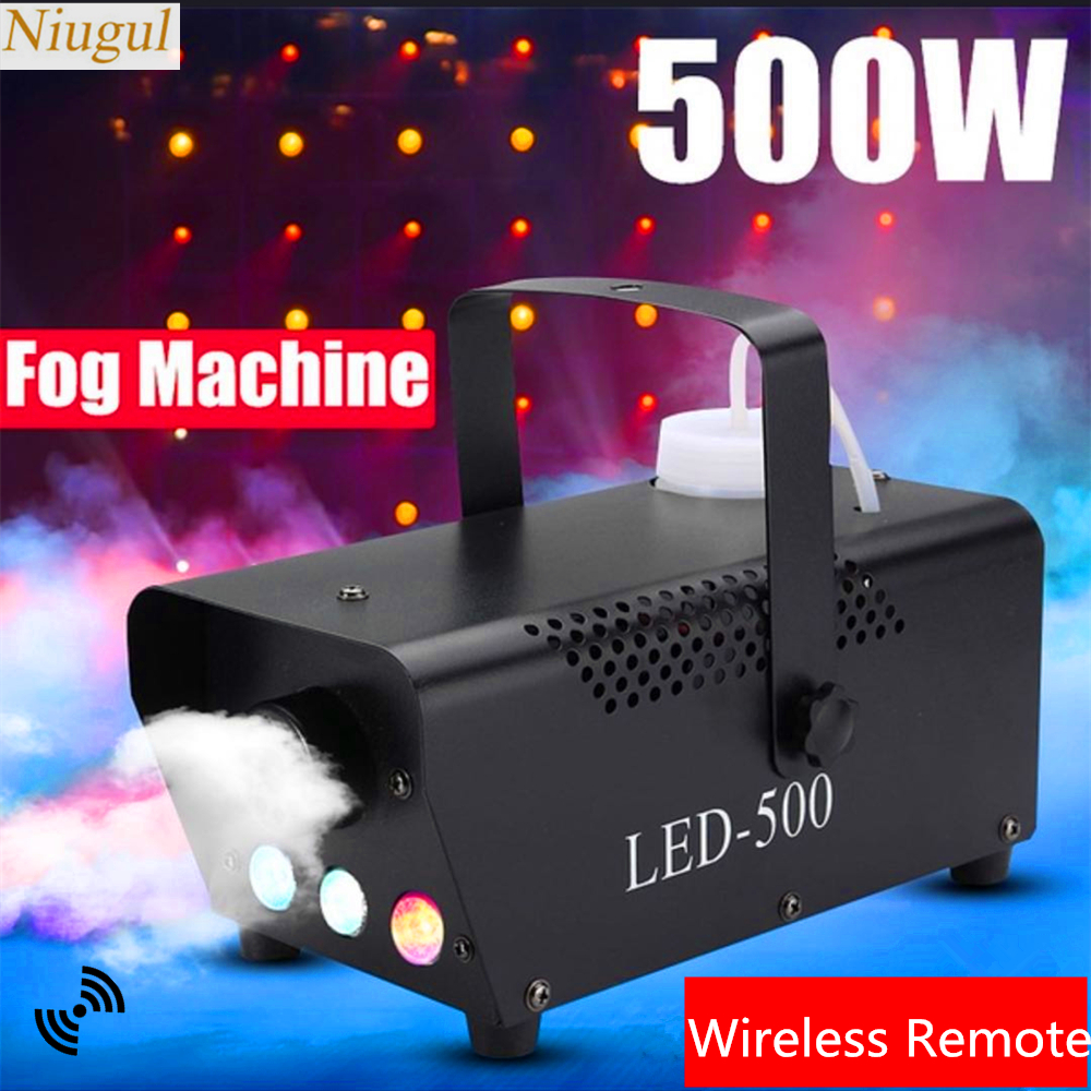 500W LED Colorful Smoke Machine/Mini LED Remote Fogger Ejector/DJ Christmas Party Stage Fog Machine With RGB 3X3W LED Lights|Stage Lighting Effect| |  - title=