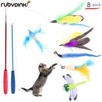 Rubydink Funny Cat Toy Set Teaser Multi Color Bird Feather Goods for Cats Cat Catcher Teaser Stick Toys Cat Supplies 8 pcs set