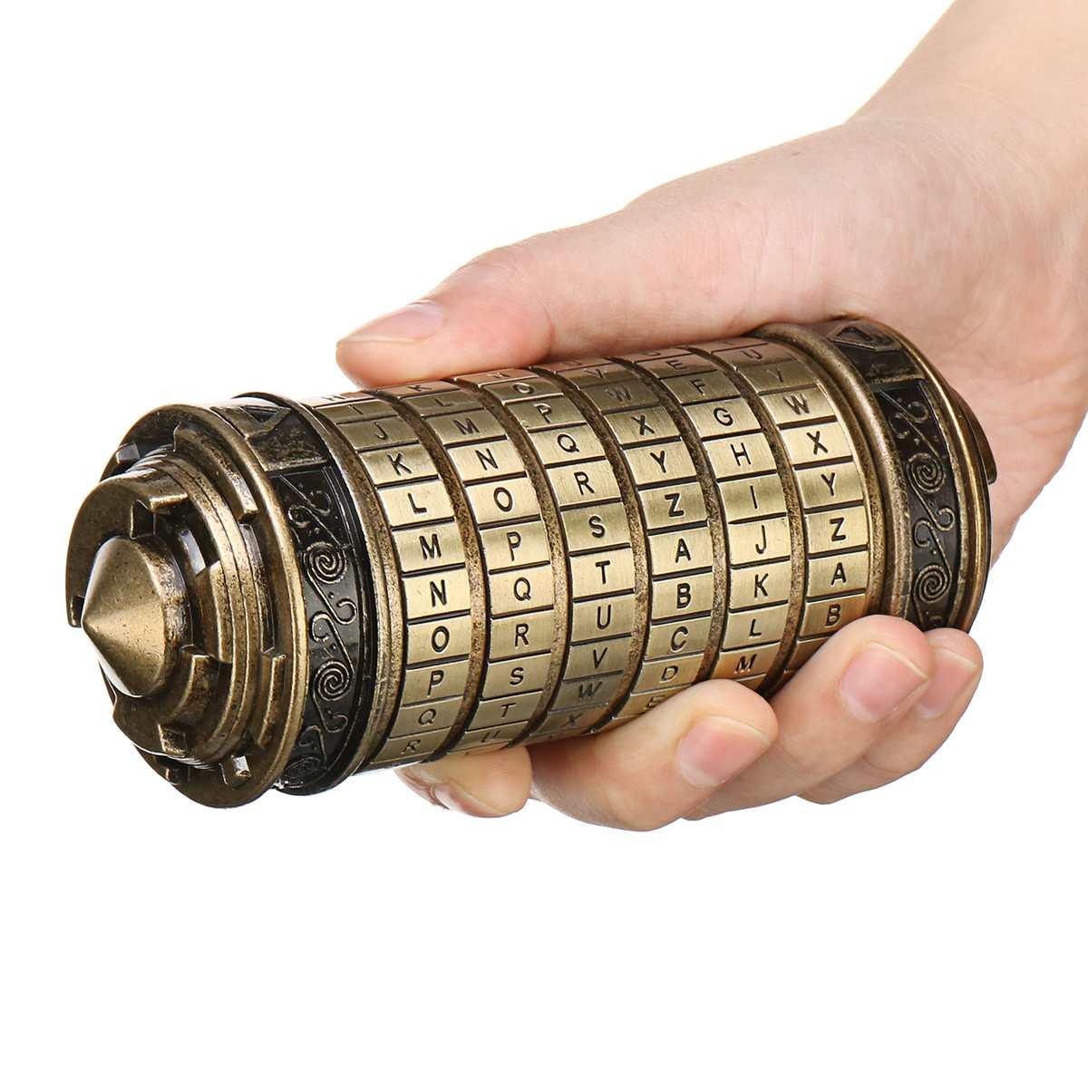Rétro métal Vinci Code mot de passe Cryptex serrure boîte Mini mariage saint valentin cadeaux romantiques lettre mot de passe accessoires Science jouet - 4
